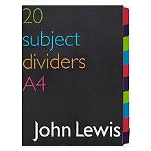 Buy John Lewis Subject Dividers, A4, Pack of 20 Online at johnlewis.com