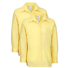 Buy Girls' School Long Sleeve Blouse, Pack of 2, Gold Online at johnlewis.com