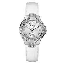 Buy Guess W10566l1 Women's Mini Prism Round White Dial White Leather Strap Watch Online at johnlewis.com