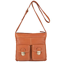 Buy John Lewis Leather Front Pocket Detail Across Body Handbag, Tan Online at johnlewis.com