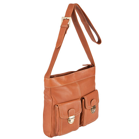 Buy John Lewis Front Pocket Detail Across Body Bag, Tan Online at johnlewis.com