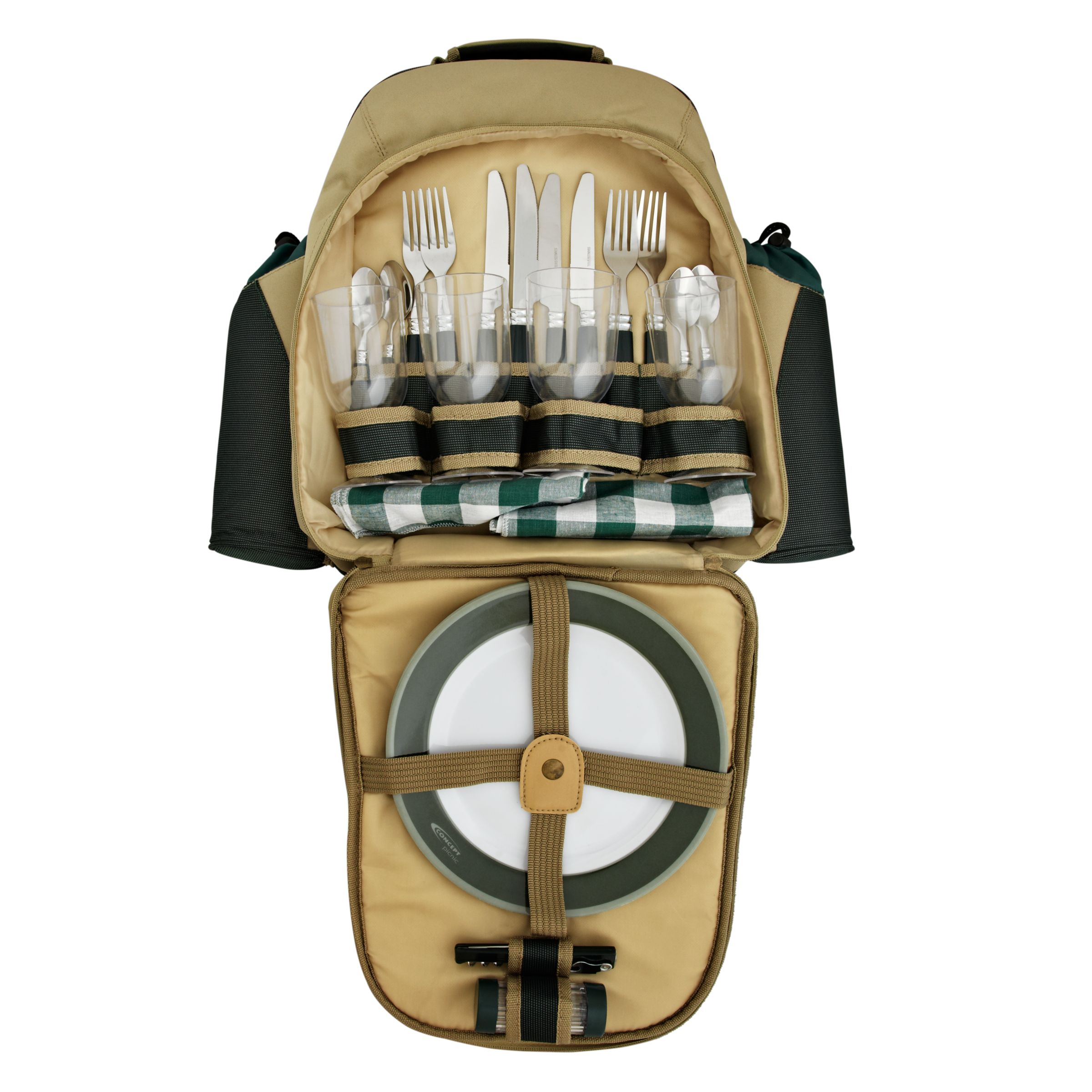 Concept International Contour Picnic Backpack, 4 Person, Green