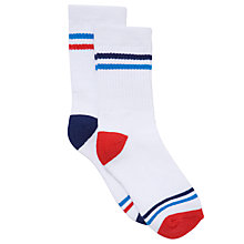 Buy John Lewis Boy Sport Socks, Pack of 2, White Online at johnlewis.com