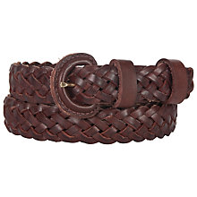 Buy John Lewis Skinny Plaited Belt, Brown Online at johnlewis.com