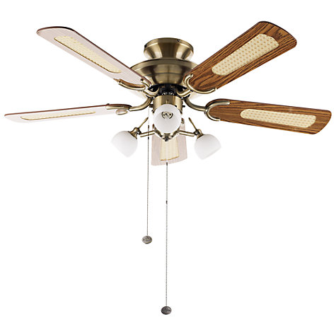 Buy Fantasia Mayfair Ceiling Fan and Light, Antique Brass Online at johnlewis.com