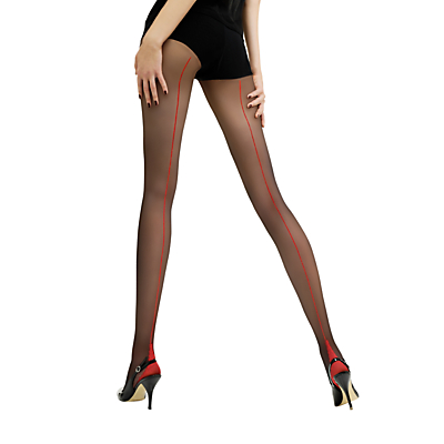 Jonathan Aston Contrast Seam Heel Tights, Black/Red