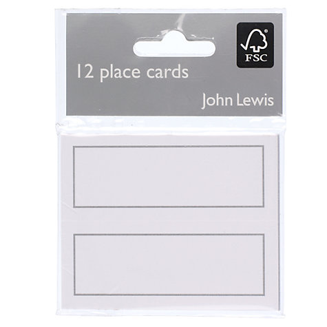 Buy John Lewis Place Cards, Silver, Pack of 12 Online at johnlewis.com