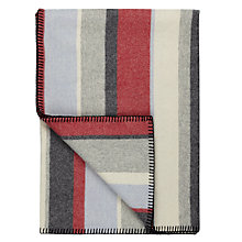 Buy Melin Tregwynt Seaford Stripe Lambswool Blanket, Red Online at johnlewis.com