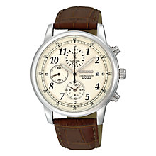 Buy Seiko SNDC31P1 Men's Cream Dial Chronograph Leather Strap Watch, Brown Online at johnlewis.com