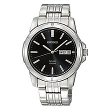 Buy Seiko SNE093P1 Men's Round Black Dial Solar Bracelet Watch, Silver Online at johnlewis.com