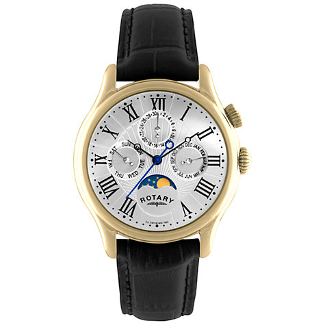 Buy Rotary GS02839/01 Men's Steel Moon Phase Dial Leather Strap Watch, Black Online at johnlewis.com