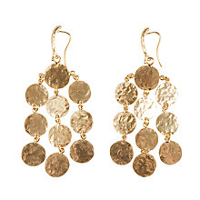 Buy Etrusca 18ct Gold Plated Bronze Hammered Disc Chandelier Drop Earrings Online at johnlewis.com