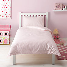 Buy little home at John Lewis Make a Wish Hearts & Stars Single Duvet Cover and Pillowcase Set, Pink Online at johnlewis.com