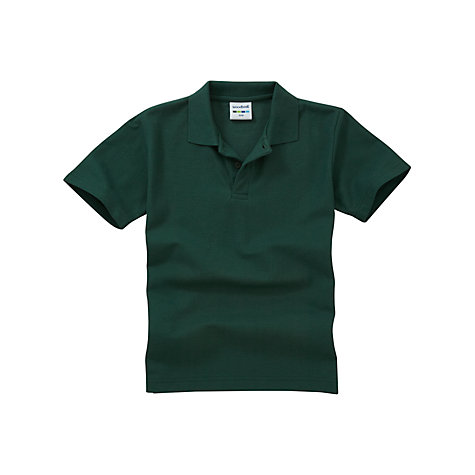 Buy Plain Unisex School Polo Shirt, Bottle Green Online at johnlewis.com