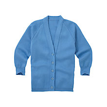 Buy Girls' Acrylic School Cardigan, Light Blue Online at johnlewis.com