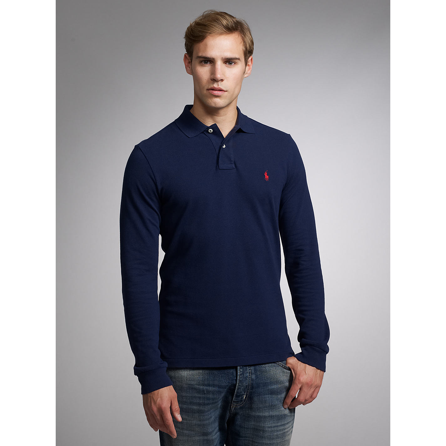 ... Buy Polo Ralph Lauren Custom Fit Long Sleeve Polo Shirt Online at johnlewis.com ...