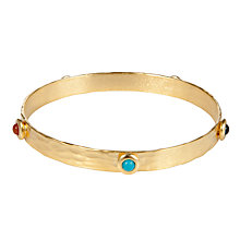 Buy Etrusca 18ct Gold Plated Bronze Hammered Bangle with Cabouchon Studs Online at johnlewis.com