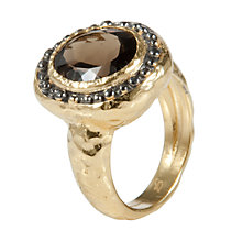 Buy Etrusca 18ct Gold Plated Bronze and Smokey Quartz Horizon Ring Online at johnlewis.com