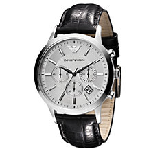 Buy Emporio Armani AR2432 Men's Round Silver Dial Black Strap Chronograph Watch Online at johnlewis.com