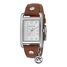 Buy Michael Kors Women's Rectangle Brown Leather Strap Watch Online at johnlewis.com