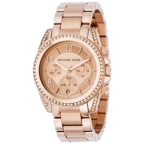Buy Michael Kors MK5263 Women's Crystal Round Stainless Steel Watch, Rose Gold Online at johnlewis.com