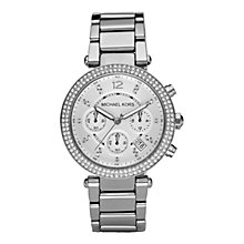 Buy Michael Kors MK5353 Women's Glitz Top Chronograph Stainless Steel Bracelet Watch, Silver Online at johnlewis.com