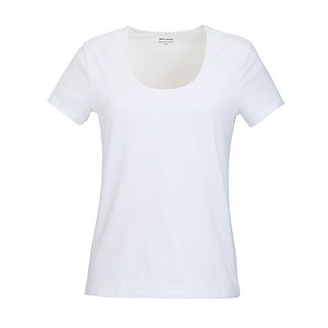 Buy John Lewis Scoop Neck Top, White Online at johnlewis.com