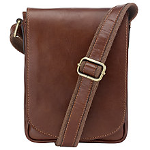 Buy John Lewis Leather Reporter Bag, Brown Online at johnlewis.com