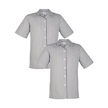 Buy Girls' School Short Sleeve Striped Blouse, Pack of 2, Grey/White Online at johnlewis.com