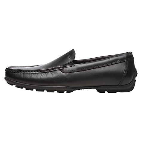 Buy Geox Winter Monet Leather Slip On Moccasins, Black Online at johnlewis.com