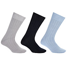 Buy John Lewis Mercerised Cotton Socks, Pack of 3 Online at johnlewis.com