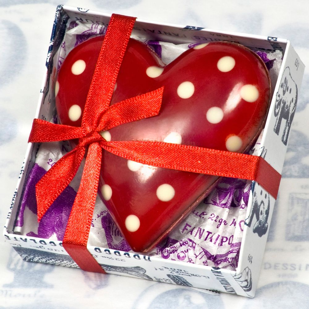 Rococo Chocolates Dark Chocolate Polka Dot Heart, 60g