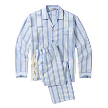 Buy Derek Rose Brushed Cotton Stripe Pyjamas, Blue Online at johnlewis.com