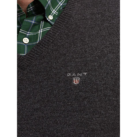 Buy Gant Solid Lambswool V-Neck Jumper Online at johnlewis.com