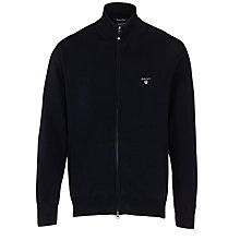 Buy Gant Full Zip Cotton Cardigan, Navy Online at johnlewis.com