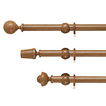 John Lewis Walnut Wood Curtain Pole, Dia.35mm