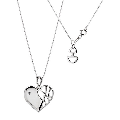 Buy Hot Diamonds Arabesque Eclipse Heart Pendant Necklace Online at johnlewis.com