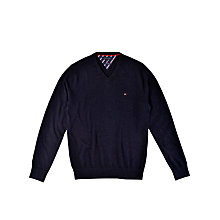 Buy Tommy Hilfiger Cotton Cashmere V-Neck Jumper Online at johnlewis.com