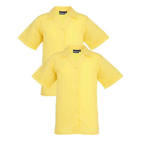 Buy Girls' Short Sleeve School Blouse, Pack of 2, Gold Online at johnlewis.com