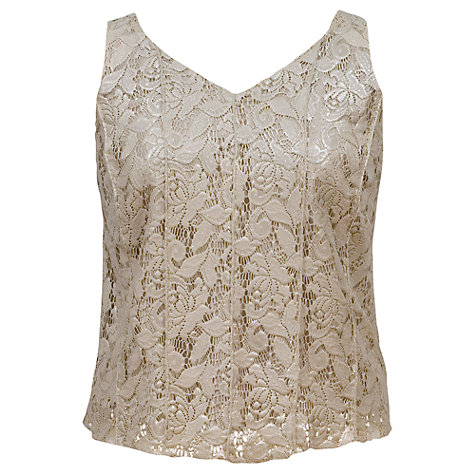 Buy Chesca Lace Foil Print Lace Pintuck Top, Barley Online at johnlewis.com