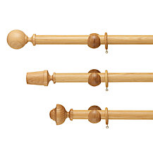 John Lewis Solid Oak Curtain Pole, Dia.35mm