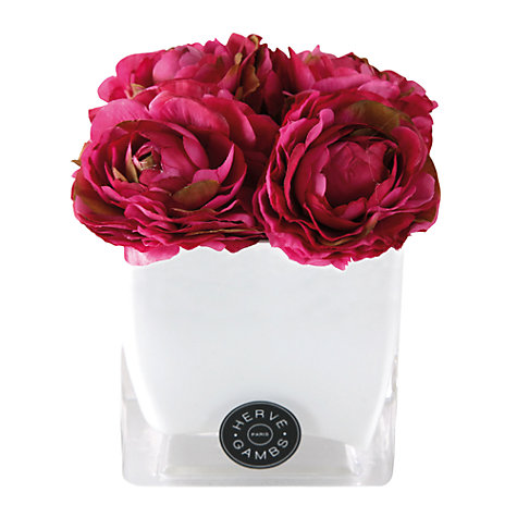 Buy Hervé Gambs Ranunculus Flowers in a Glass Cube, Fuchsia Online at johnlewis.com