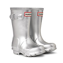 Buy Hunter Kids' Classic Wellington Boots, Silver Online at johnlewis.com