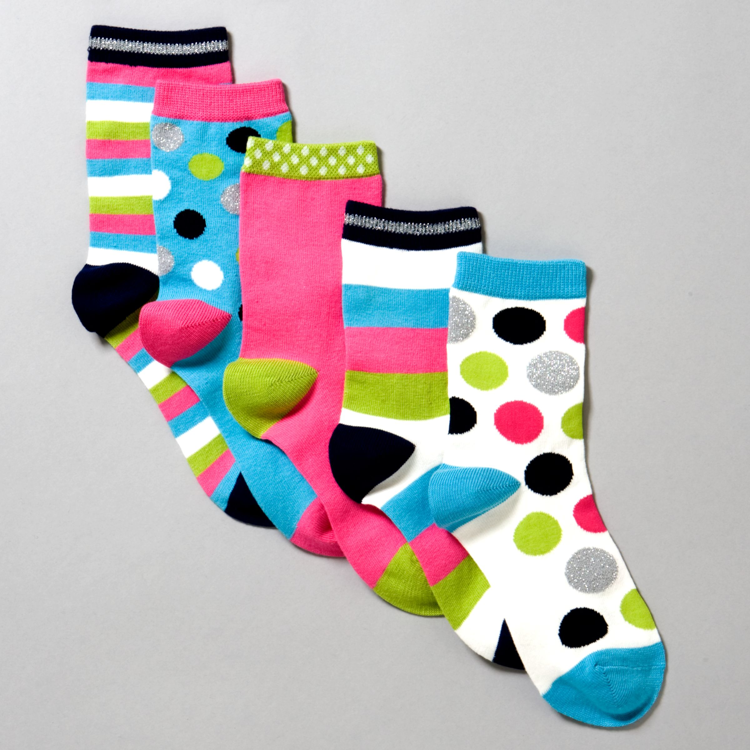 John Lewis Girl Bright Spot/Stripe Socks, Pack of 5, Multi