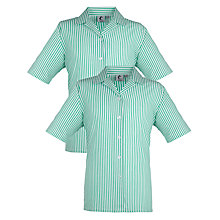 Buy Dartford Grammar School For Girls Blouse, Pack of 2, Green/White Stripe Online at johnlewis.com