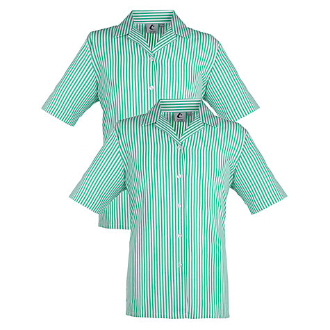 Buy Girls' School Blouse, Pack of 2, Green/White Stripe Online at johnlewis.com
