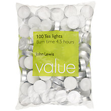 Buy John Lewis The Basics Tealights, Bag of 100 Online at johnlewis.com