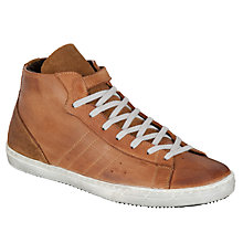 Buy Bertie Stallone Hi-Top Leather Trainers, Tan Online at johnlewis.com