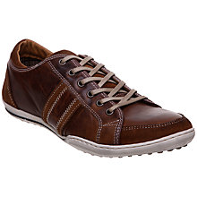 Buy Dune Whiskey Stripe Leather Trainers, Tan Online at johnlewis.com
