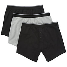 Buy John Lewis Organic Cotton Trunks, Pack of 3, Black/Grey Online at johnlewis.com